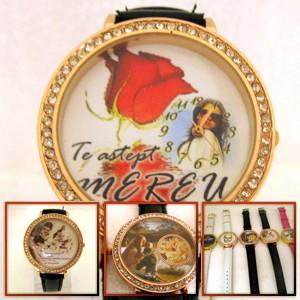 ceas de mana femei, personalizat cu poze, mare, cristale
