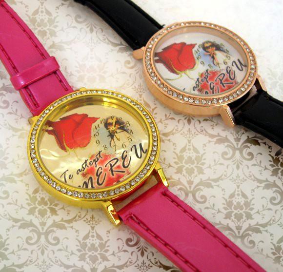 ceasuri femei, cadran aurit, personalizat cu poze si mesaje