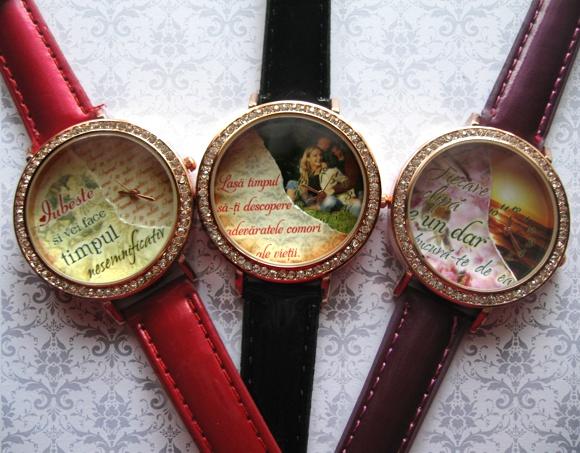 ceasuri femei, cadran cu doua straturi, personalizate, curele colorate negru, rosu, mov, alb